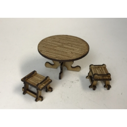Round table and stools